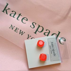 NEW ♠️ KS NY Neon Coral Small Square Stud Earrings